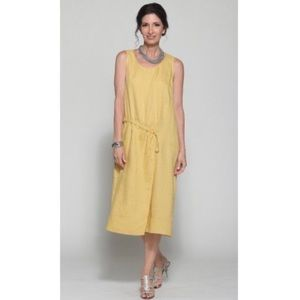 Anthro chalet Violetta mustard yellow linen dress